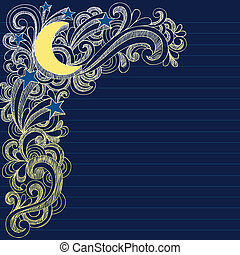 lua, estrelas, céu noite, doodles, página