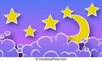 lua, estrelas, e, nuvens, em, céu, volta