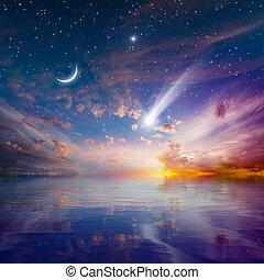 lua, glowing, pôr do sol, crescente, estrelas, levantar, queda, cometa