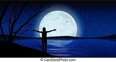 lua, ligado, a, céu noite, homem, mãos, estiramento, silueta