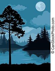 lua, paisagem, árvores, montanhas