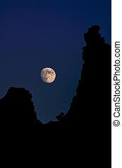 lua, sobre, arenito, colinas