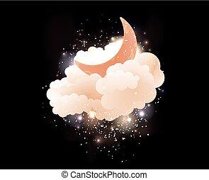 lua, stars., nuvens