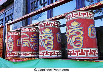 LUAN COUNTY - NOVEMBER 10: The Tibetan rotatable cylindrical...