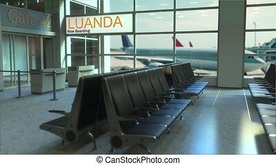 Luanda flight boarding now in the airport terminal....
