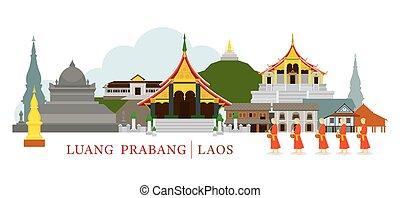 Luang Prabang, Laos, Landmarks and Monks on Alms Round -...