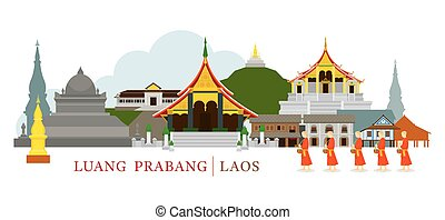 Luang Prabang, Laos, Landmarks and Monks on Alms Round -...