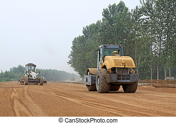 Highway subgrade engineering construction site