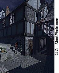 luar, emboscada, em, um, medieval, rua