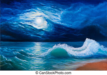 luar, mar, paisagem