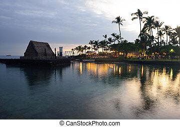 luau, après, hawaï, coucher soleil, fête, plage