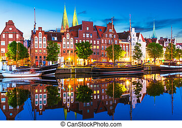 Lubeck, Germany - Scenic summer evening view of the Old Town...