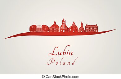 Lubin skyline in red