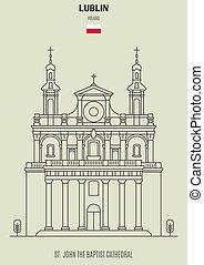 lublin, baptista, székesegyház, határkő, jános, ikon, poland., szt.