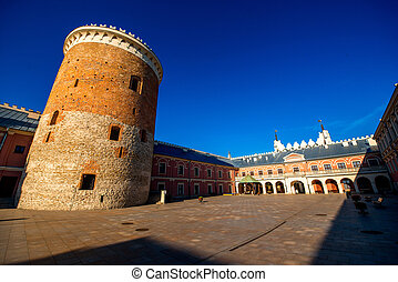 Castle square with tower in Lublin, poland