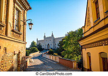 Old buildings with castle on background in Lublin, Poland