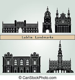 Lublin landmarks and monuments isolated on blue background in editable vector file