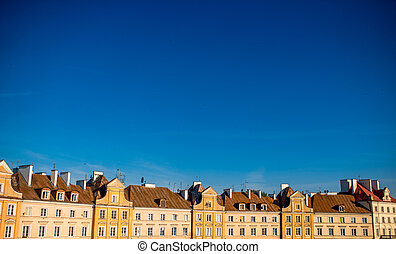 Old buildings on the castle square in Lublin, Poland. General view with copy space