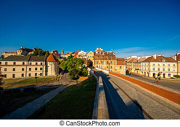 Old cityscape view near Lublin castle in Poland