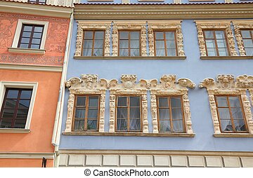 Lublin, city in Poland. Old town square architecture view.