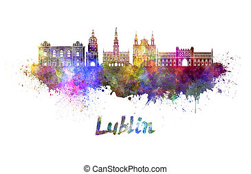 Lublin skyline in watercolor splatters with clipping path