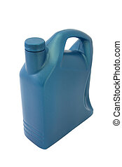Lubricant oil plastic container on white background.