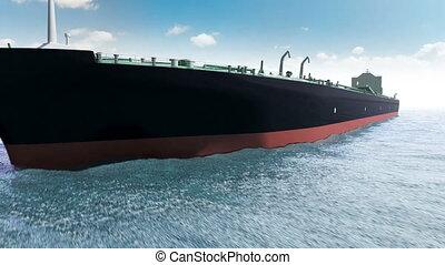lubrifique navio-tanque, em, um, mar
