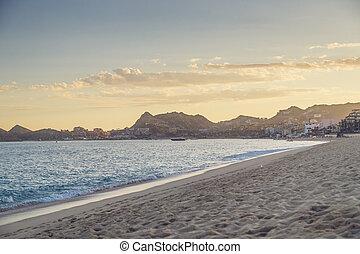lucas, méxico, cabo, ondas, vista, praia, arenoso, san