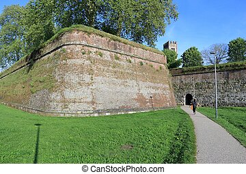 Lucca city walls - Lucca, Italy - medieval town of Tuscany. ...