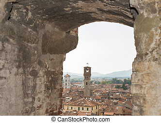 Lucca cityscape from Guinigi Tower, Tuscany, Italy