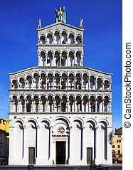 Lucca landmark, San Michele in Foro church.  Tuscany, Italy.
