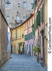 lucca, octubre, italia, calle, toscano, 2009, típico