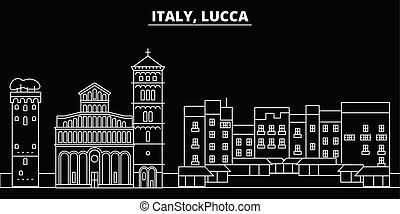 Lucca silhouette skyline. Italy - Lucca vector city, italian linear architecture, buildings. Lucca travel illustration, outline landmarks. Italy flat icons, italian line banner