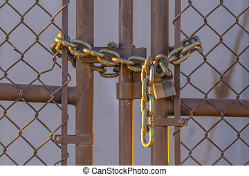 lucchetto, collegamento, recinto, catena, chiuso