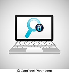 lucchetto, laptop, dati, ricerca, assicurare