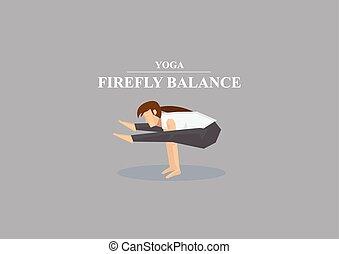 lucciola, posa yoga, asana, illustrazione, vettore, equilibrio