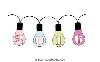 luce, 2016, celebrazione, lampadine