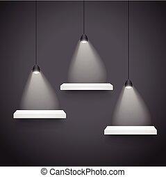 luce, 3d, morbido, mostra, mensole