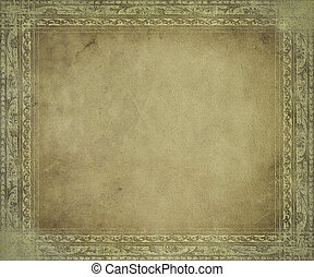 luce, anticaglia, pergamena, con, cornice