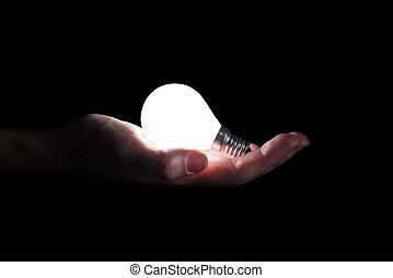 luce, ardendo, bulbo, tenendo mano