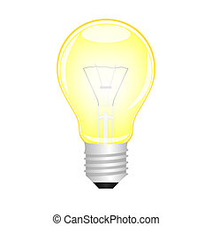 luce, ardendo, vettore, giallo, bulbo