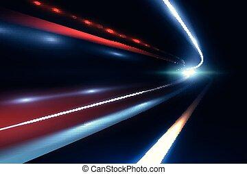 luce, astratto, lines., vettore, tragico, lungo, fondo, piste, esposizione, macchina velocità