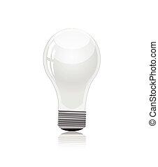 luce, bianco, isolato, bulbo