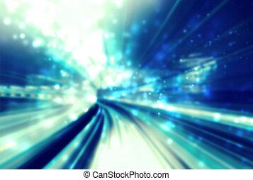 luce blu, astratto, baluginante, sentiero, futuristico