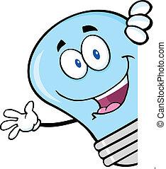 luce blu, dietro, bulbo, segno