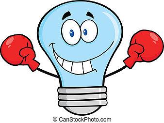 luce blu, guantoni da box, bulbo