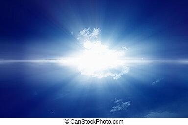 luce blu, luminoso, cielo scuro
