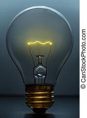 luce blu, luminoso, fondo, bulbo