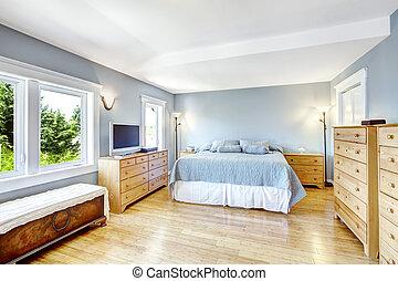 luce blu, luminoso, interno, camera letto
