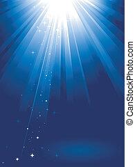luce blu, scoppio, con, stelle